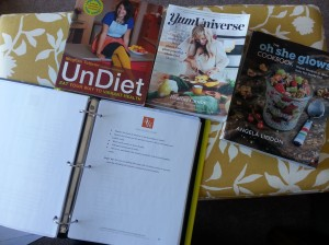 We always browse our binder with recipes and some of our favorite cookbooks to get ideas for meals.