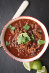 Turkey Chili with black beans and jalapeno