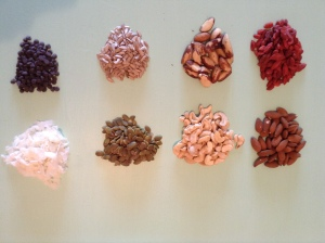This week I used almonds, brazil nuts, cashews, pumpkin seeds, sunflower seeds, goji berries, coconut flakes, and chocolate chips.
