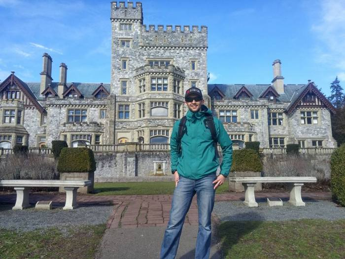 Touring the grounds and standing in front of Hatley Castle post race